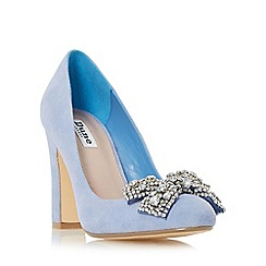 Dune - Blue 'Bambi' bejewelled bow detail court shoe