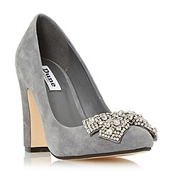 Dune - Grey 'Bambi' bejewelled bow detail court shoe