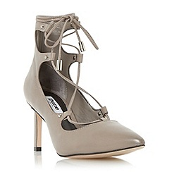 Dune - Grey 'Bradey' leather ghillie lace court shoe