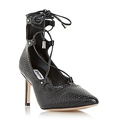 Dune - Black 'Bradey' leather ghillie lace court shoe