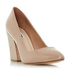 Dune - Natural 'Alberta' block heel pointed toe court shoe