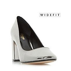 Dune - Silver 'W acapela' wide fit square toe block heel court shoe