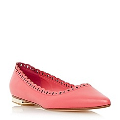 Dune - Pink scallop detail pointed toe flat shoe