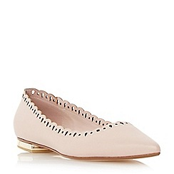 Dune - Neutral scallop detail pointed toe flat shoe