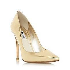 Dune - Gold 'Aiyana' pointed toe high heel court shoe