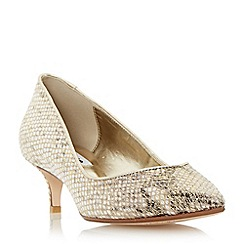 Dune - Metallic sweetheart kitten heel court shoe