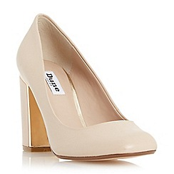 Dune - Nude-leather 'Avalin' square toe block heel court shoe