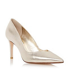 Dune - Metallic sweetheart cut mid heel court shoe