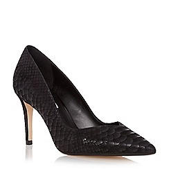 Dune - Black sweetheart cut mid heel court shoe
