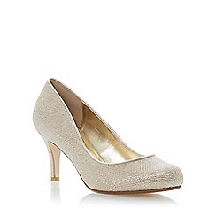 Dune - Gold mid heel court shoe