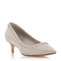 Dune - Putty-patent 'Anya' pointed toe stud detail kitten heel court shoe