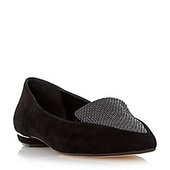 Dune - Black 'Addison' pointed toe metal heel loafer
