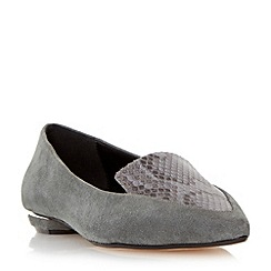Dune - Grey 'Addison' pointed toe metal heel loafer