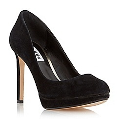 Dune - Black 'Amber' round toe slim platform court shoe