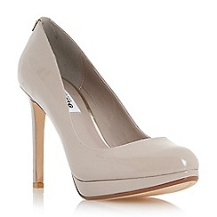 Dune - Light grey 'Amber' round toe slim platform court shoe