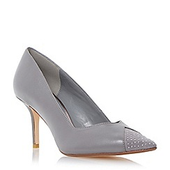 Dune - Grey 'Anamarie' studded toe mid heel court shoe