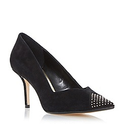 Dune - Black 'Anamarie' studded toe mid heel court shoe