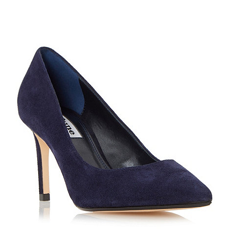 Dune - Navy +Abbigail+ pointed toe mid heel court shoes