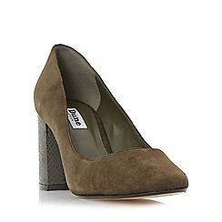 Dune - Khaki 'Acapela' round toe block heel court shoe