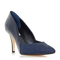 Dune - Navy 'Alyvia' mid heel sweetheart court shoe