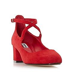 Dune - Red 'Ani' cross strap block heel court shoe