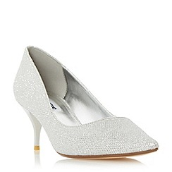 Dune - Silver 'Allera' pointed toe mid heel court shoe