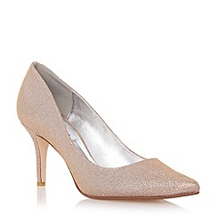 Dune - Metallic pointed toe mid heel court shoe