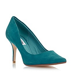 Dune - Green pointed toe mid heel court shoe