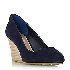 Dune - Navy 'Anisa' stacked wedge court shoe