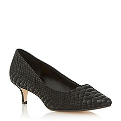 Dune - Black pointed toe kitten heel court shoe