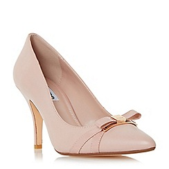Dune - Light pink 'Anora' bow trim pointed toe court shoe