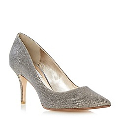 Dune - Gold pointed toe mid heel court shoe