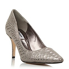 Dune - Silver 'Alina' pointed toe mid heel court shoe