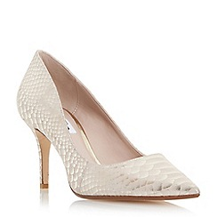 Dune - Gold 'Alina' pointed toe mid heel court shoe