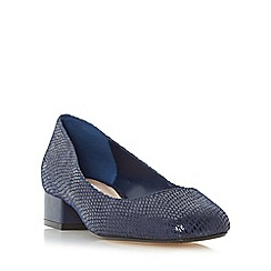 Dune - Navy 'Alanah' square toe block heel court shoe
