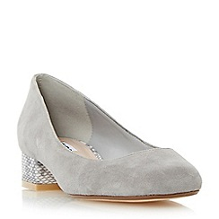 Dune - Grey 'Alanah' square toe block heel court shoe