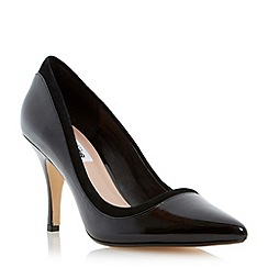 Dune - Black mixed material pointed toe court shoe
