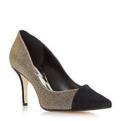 Dune - Black 'Aleni' asymmetic mid heel court shoe
