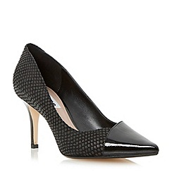 Dune - Black contrasting pointed toe mid heel court shoe