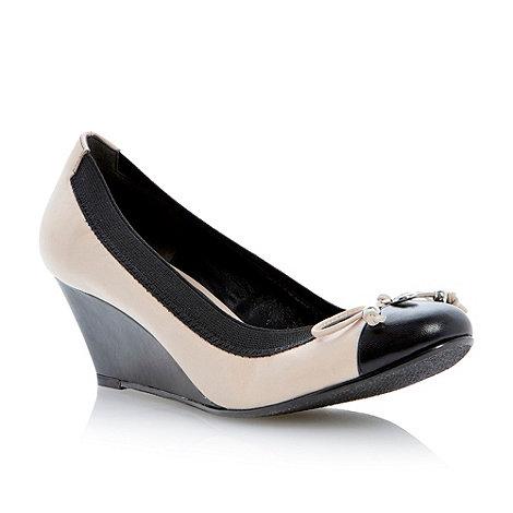 Dune - Nude bow trim toe cap detail wedge court shoe