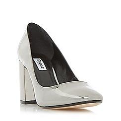 Dune - Silver 'Acapela' round toe block heel court shoe