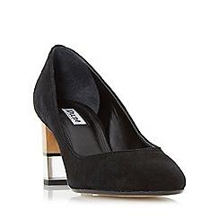 Dune - Black 'Alucent' round toe perspex heel court shoe