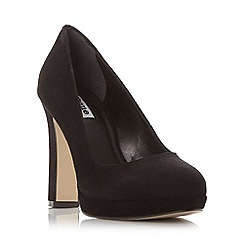 Dune - Black 'Aria' almond toe slim platform court shoe