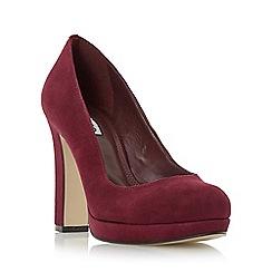 Dune - Maroon 'Aria' almond toe slim platform court shoe