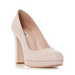 Dune - Natural 'Aria' almond toe slim platform court shoe