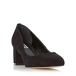 Dune - Black 'Atlas' round toe block heel court shoe