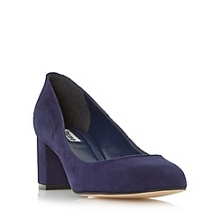 Dune - Navy 'Atlas' round toe block heel court shoe