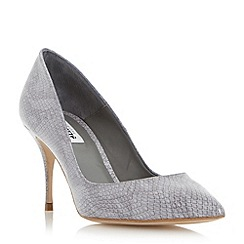 Dune - Grey reptile print pin heel court shoe