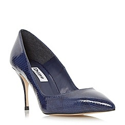 Dune - Navy 'Ashlyn' reptile print pin heel court shoe