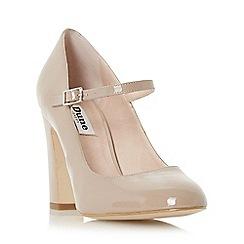 Dune - Taupe 'Audrie' block heel mary jane shoe